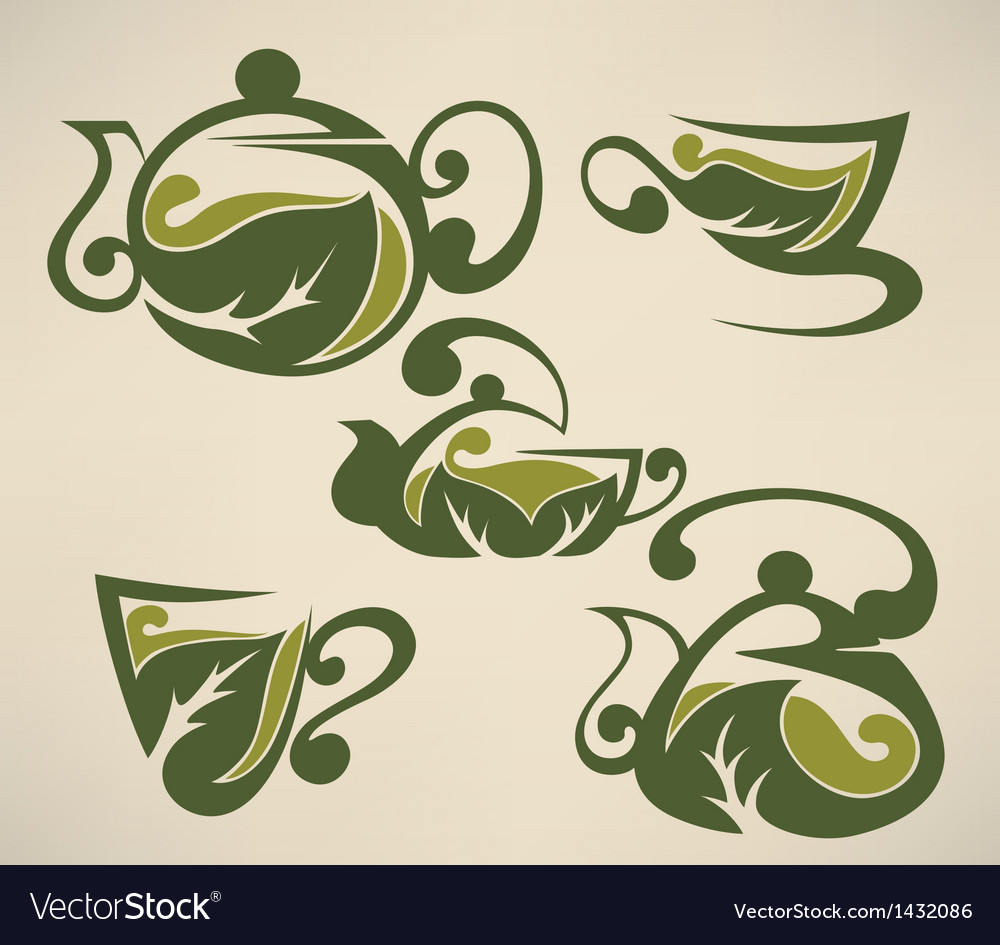 Herbal tea symbols collection vector | Price: 1 Credit (USD $1)