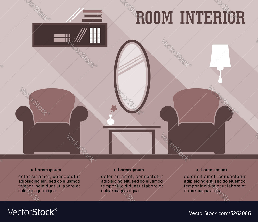 Living room interior infographic vector | Price: 1 Credit (USD $1)