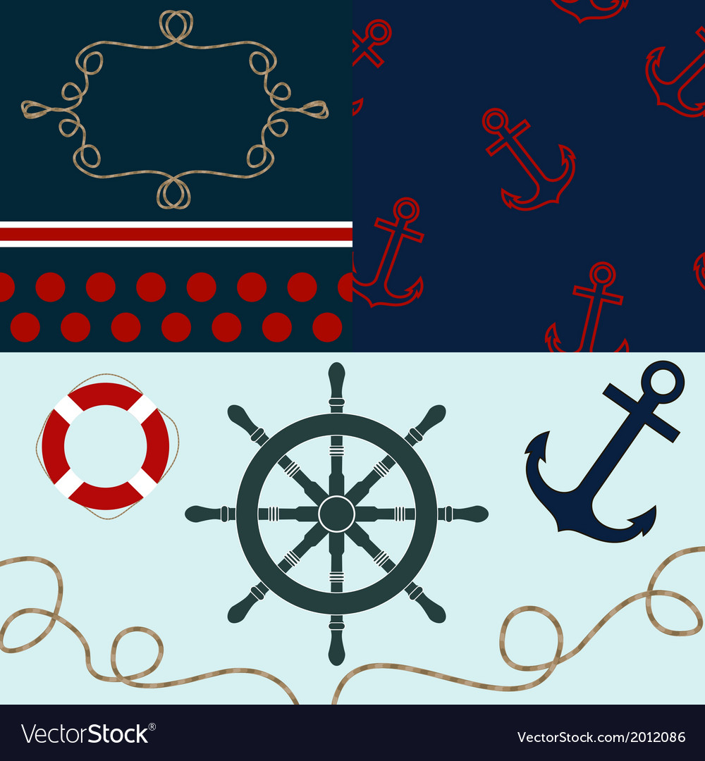 Sea theme elements for scrapbooking with textures vector | Price: 1 Credit (USD $1)