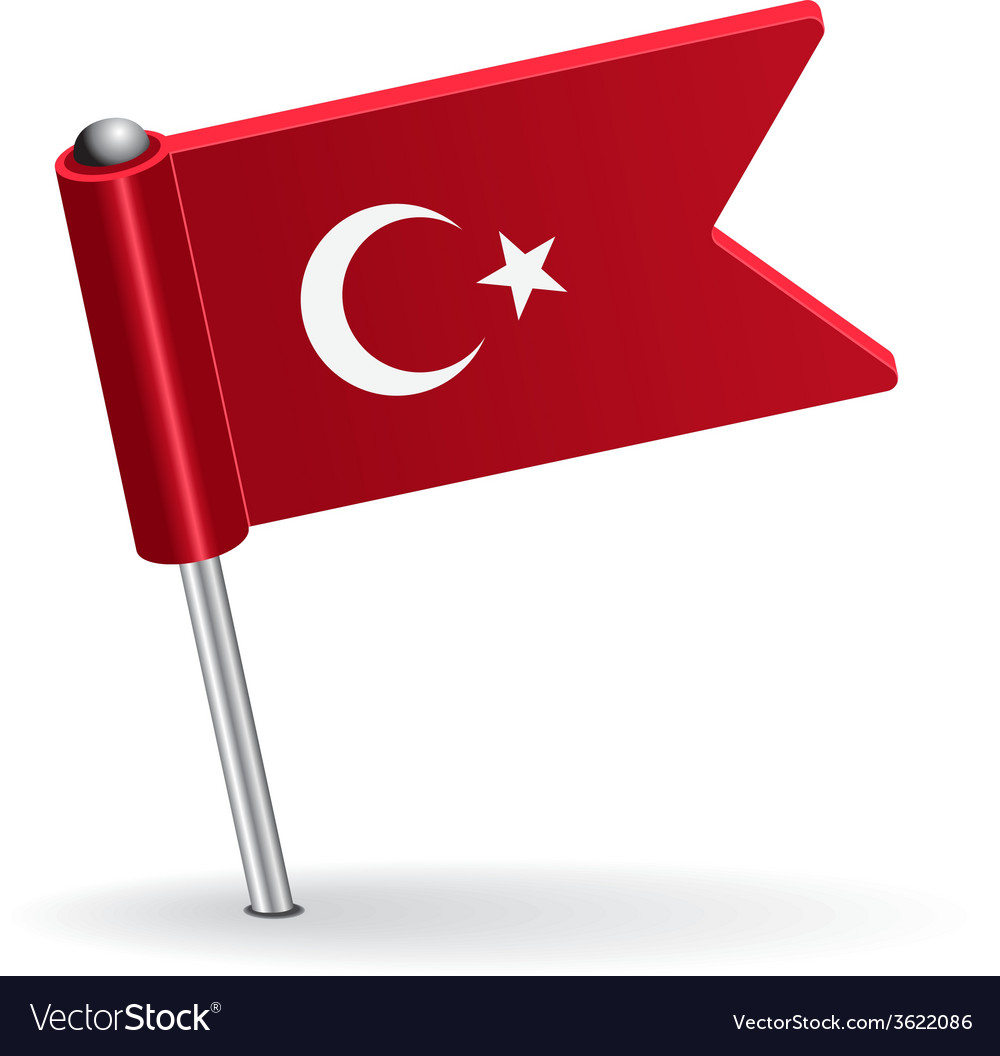 Turkish pin icon flag vector | Price: 1 Credit (USD $1)