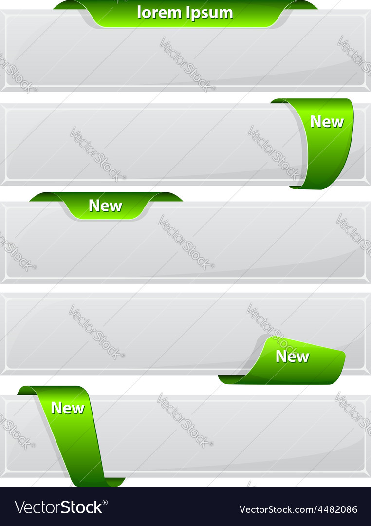 Web button with green ribbon vector | Price: 1 Credit (USD $1)