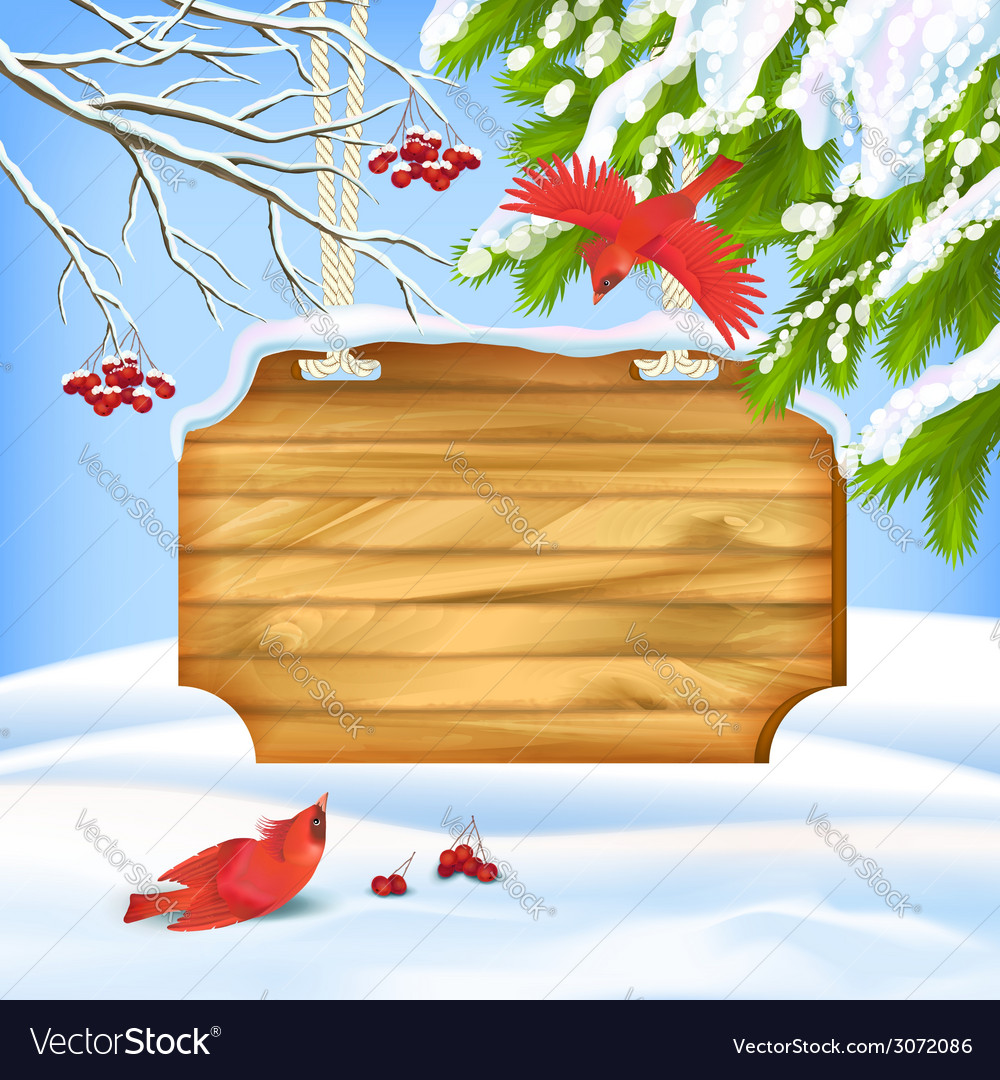 Winter landscape birds wooden board vector | Price: 1 Credit (USD $1)