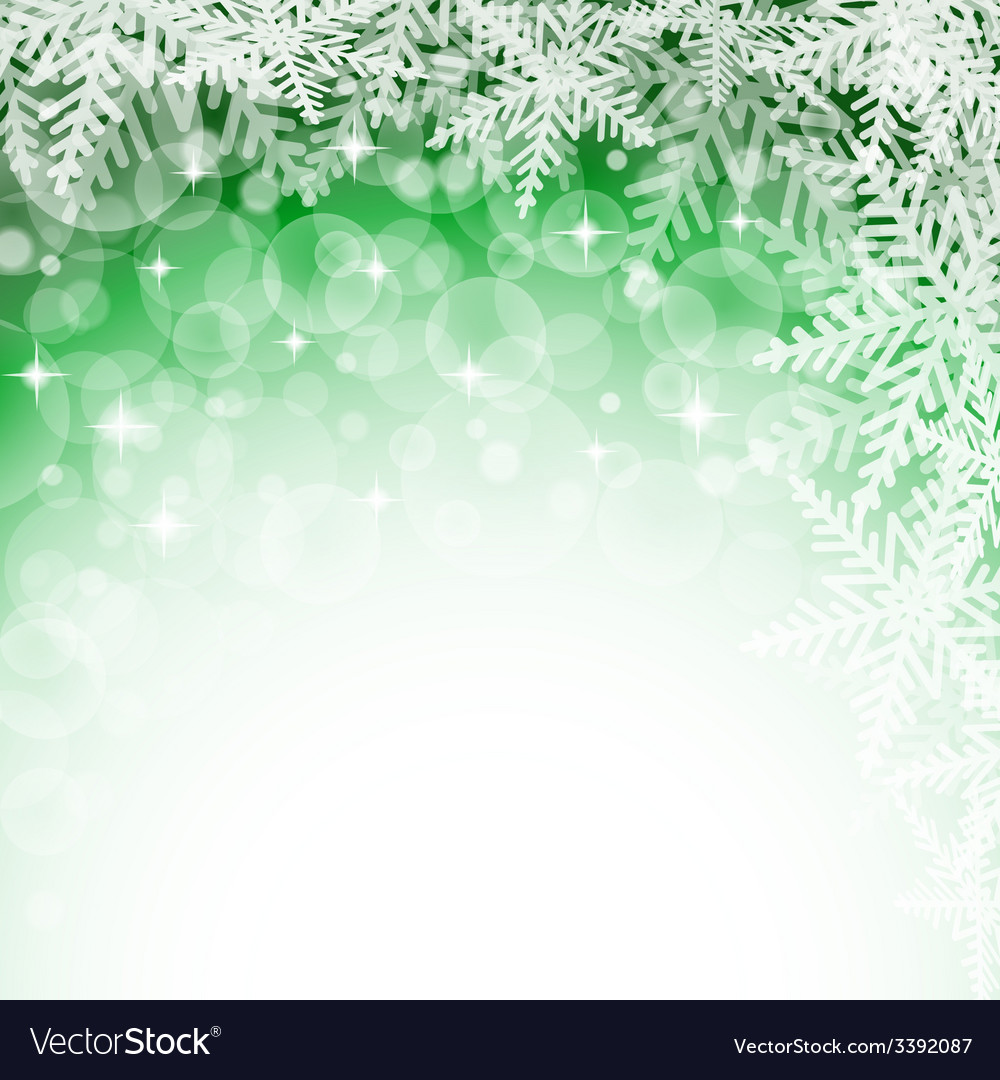 Christmas snowflakes on green background vector   Price: 1 Credit (USD $1)