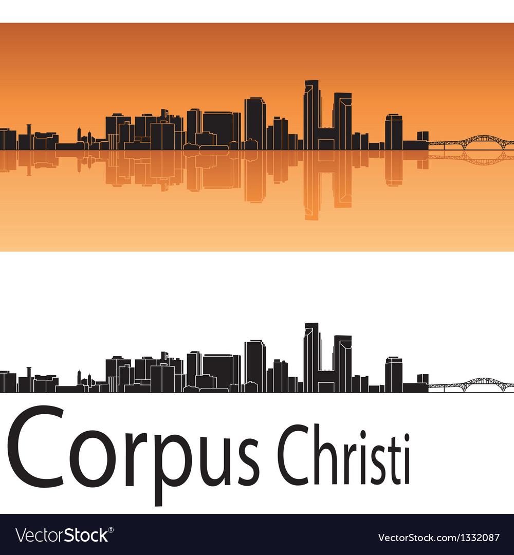 Corpus christi skyline in orange background vector | Price: 1 Credit (USD $1)