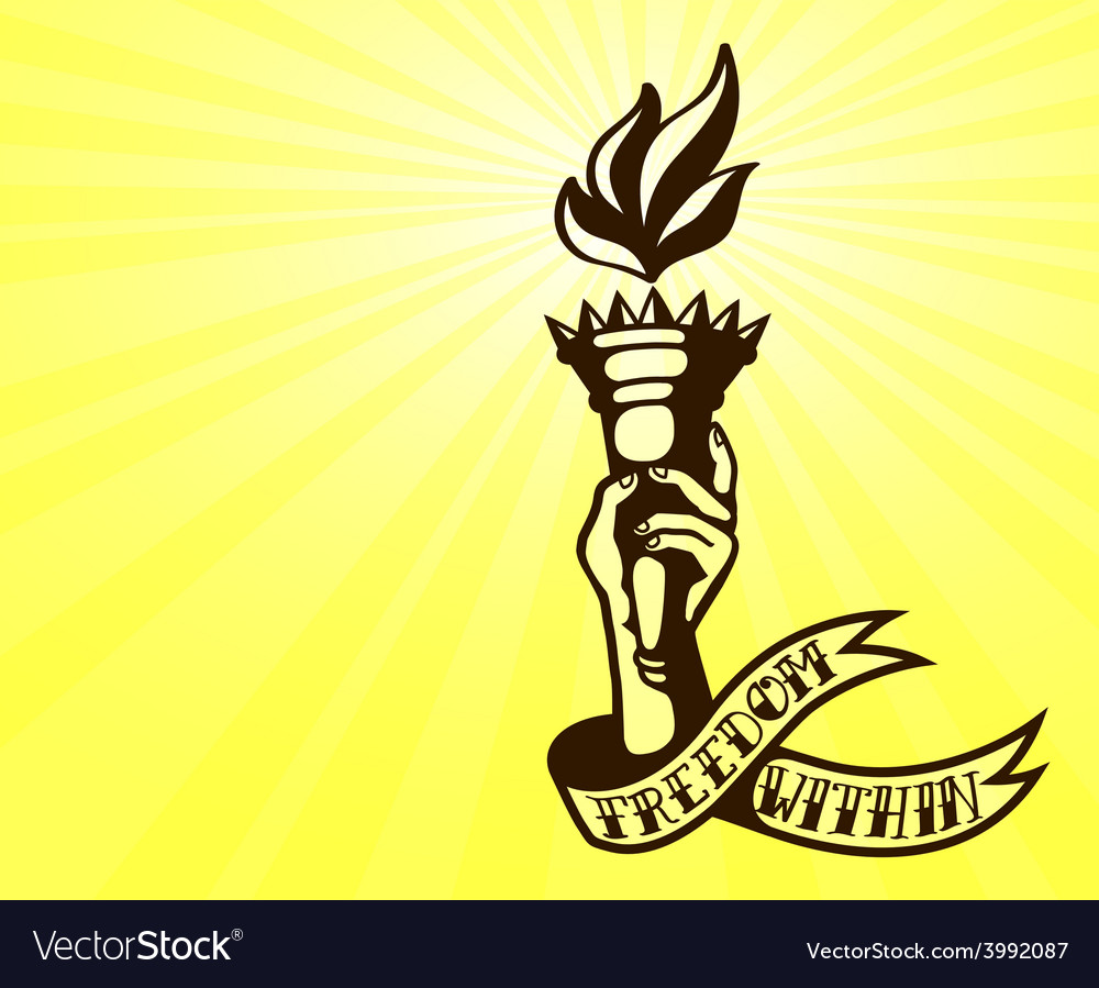Freedom tattoo design hand holding flaming torch vector | Price: 1 Credit (USD $1)