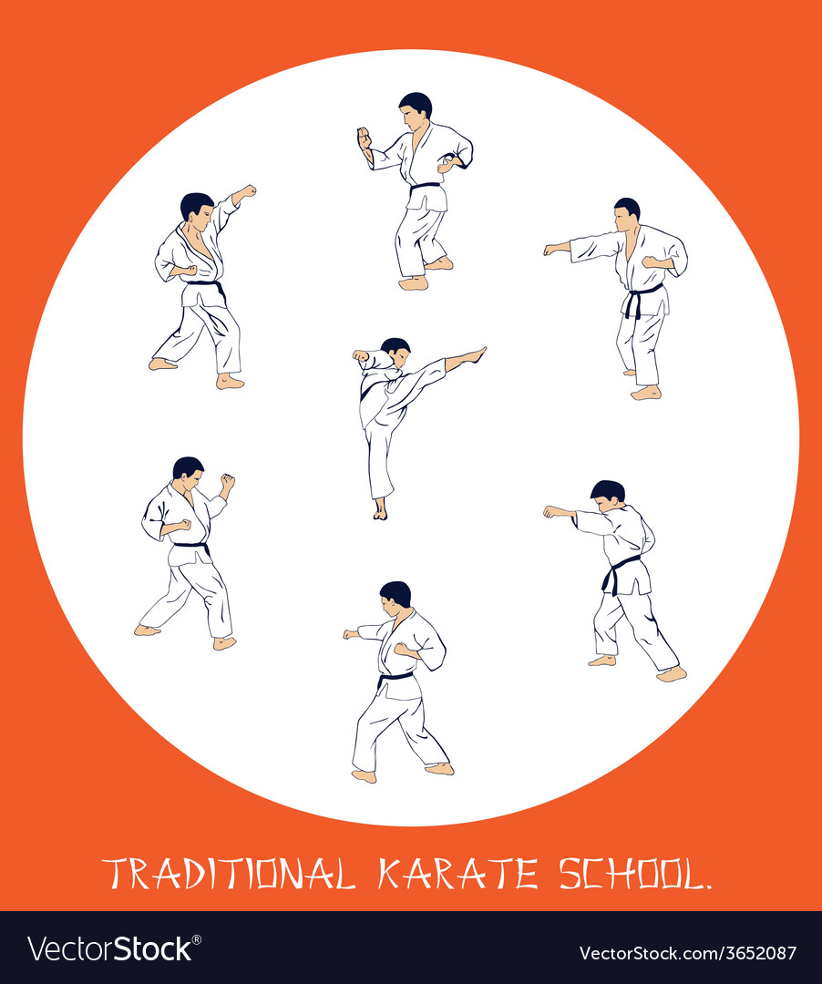 Men engaged in karate vector | Price: 1 Credit (USD $1)