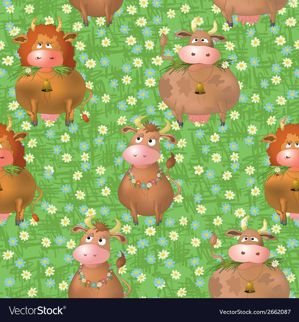 Seamless pattern cartoon cows on a meadow vector | Price: 1 Credit (USD $1)