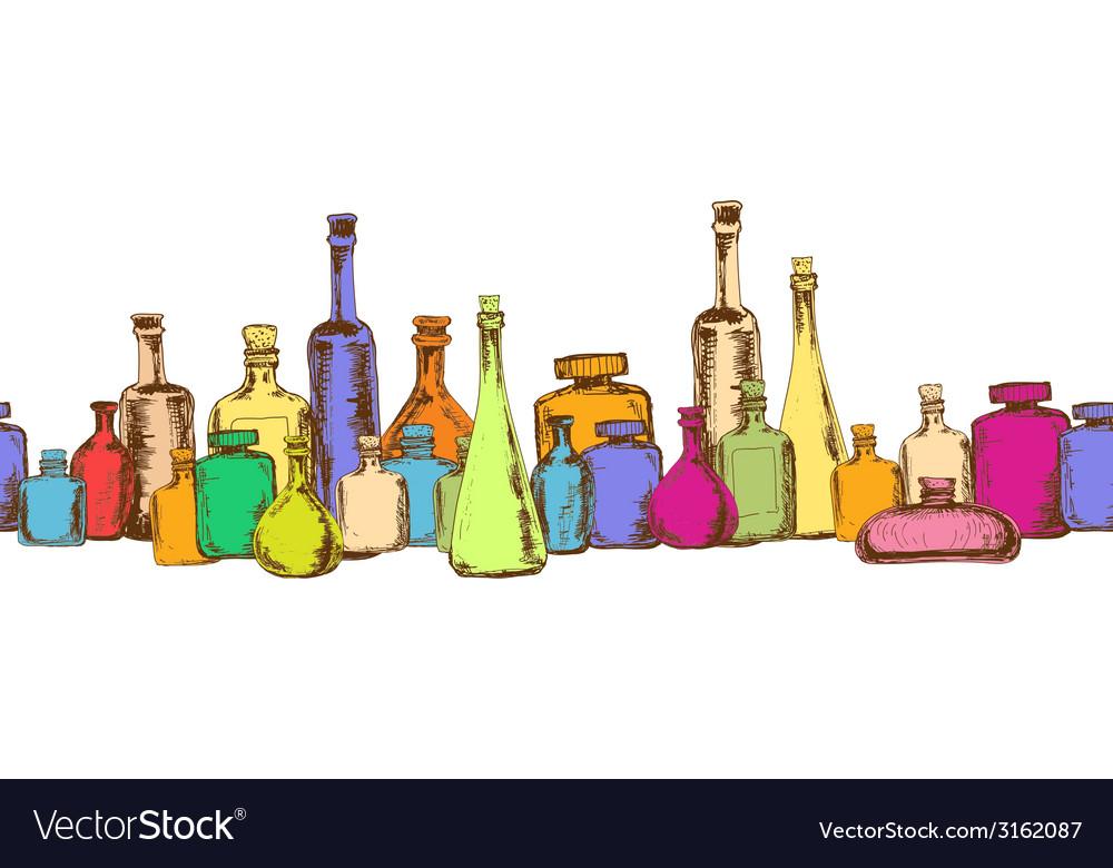 Seamless pattern with bottles vector | Price: 1 Credit (USD $1)