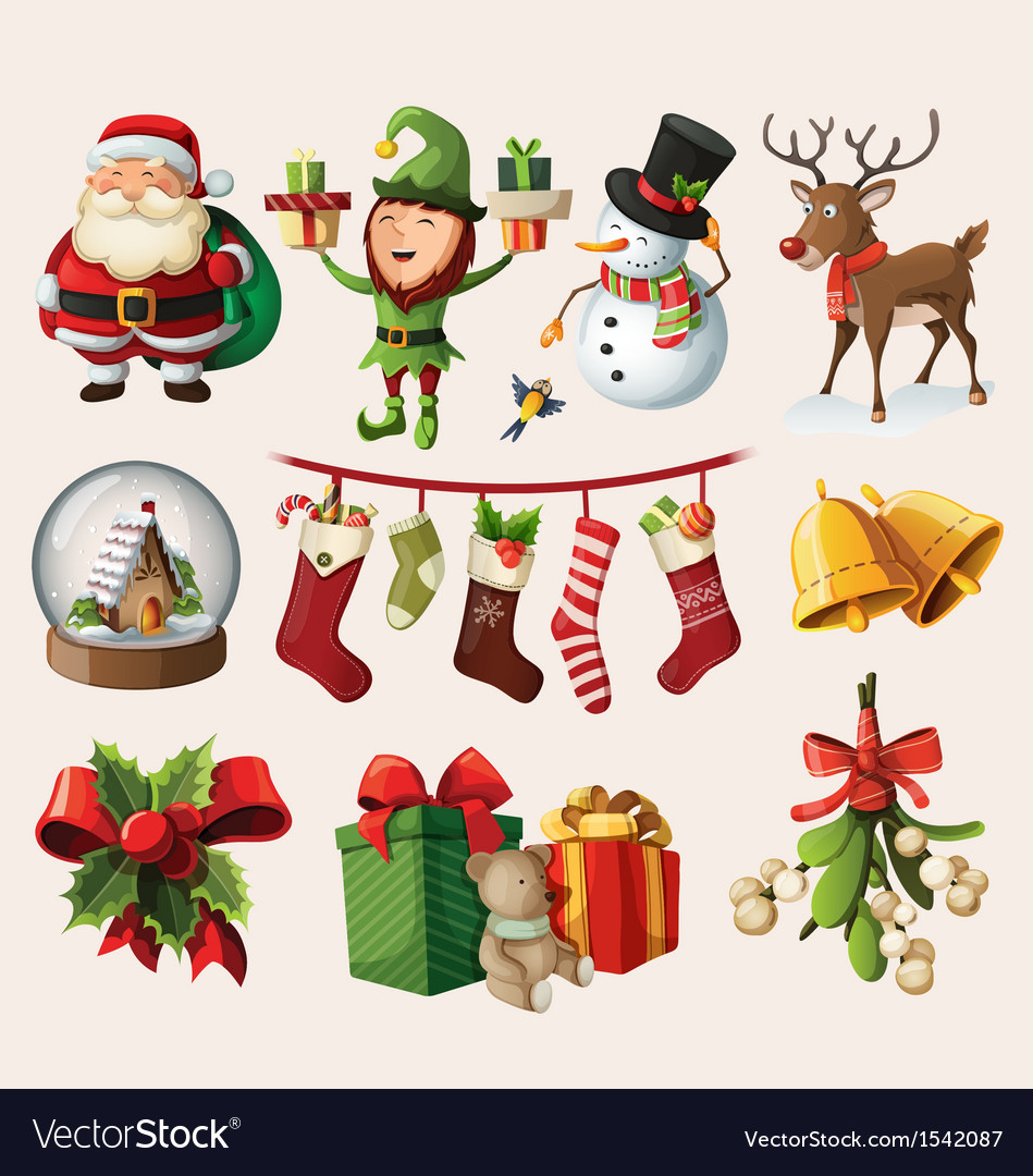 Set of colorful christmas characters vector | Price: 3 Credit (USD $3)
