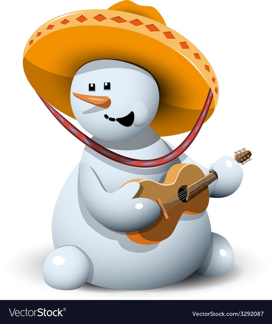 Snowman in a sombrero vector | Price: 3 Credit (USD $3)