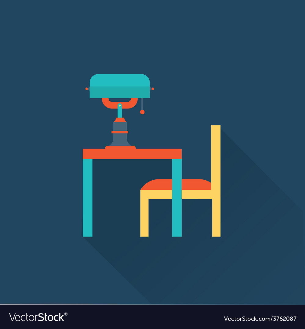 Table and lamp flat library icon vector | Price: 1 Credit (USD $1)