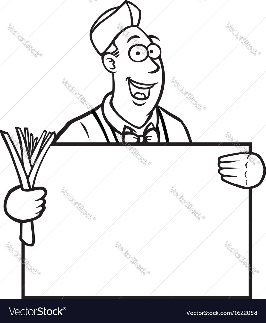 Black and white greengrocer holding a sign vector | Price: 1 Credit (USD $1)