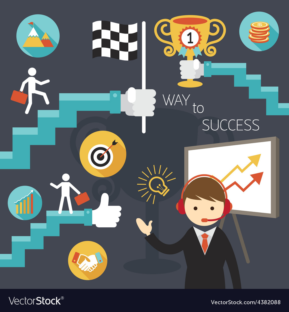 Business concept stairway to success presentation vector | Price: 1 Credit (USD $1)