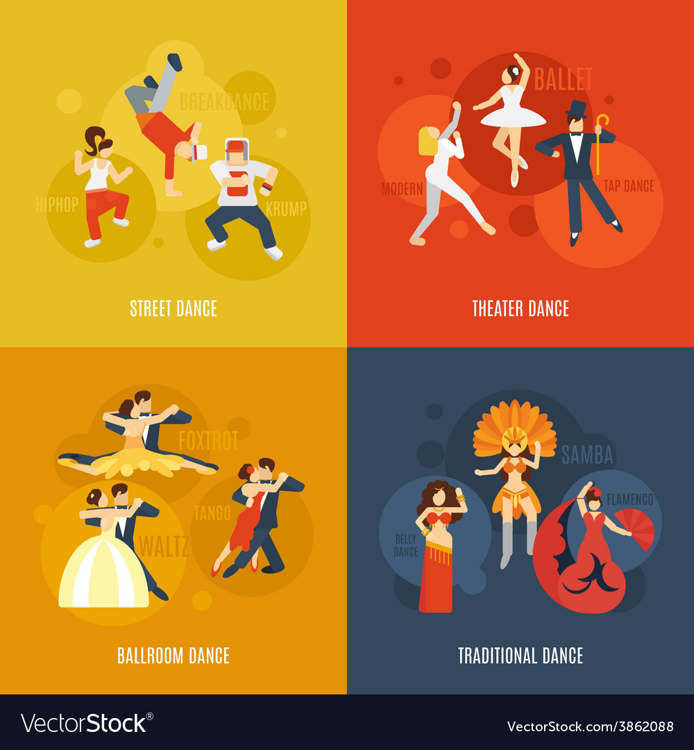 Dance flat set vector | Price: 1 Credit (USD $1)