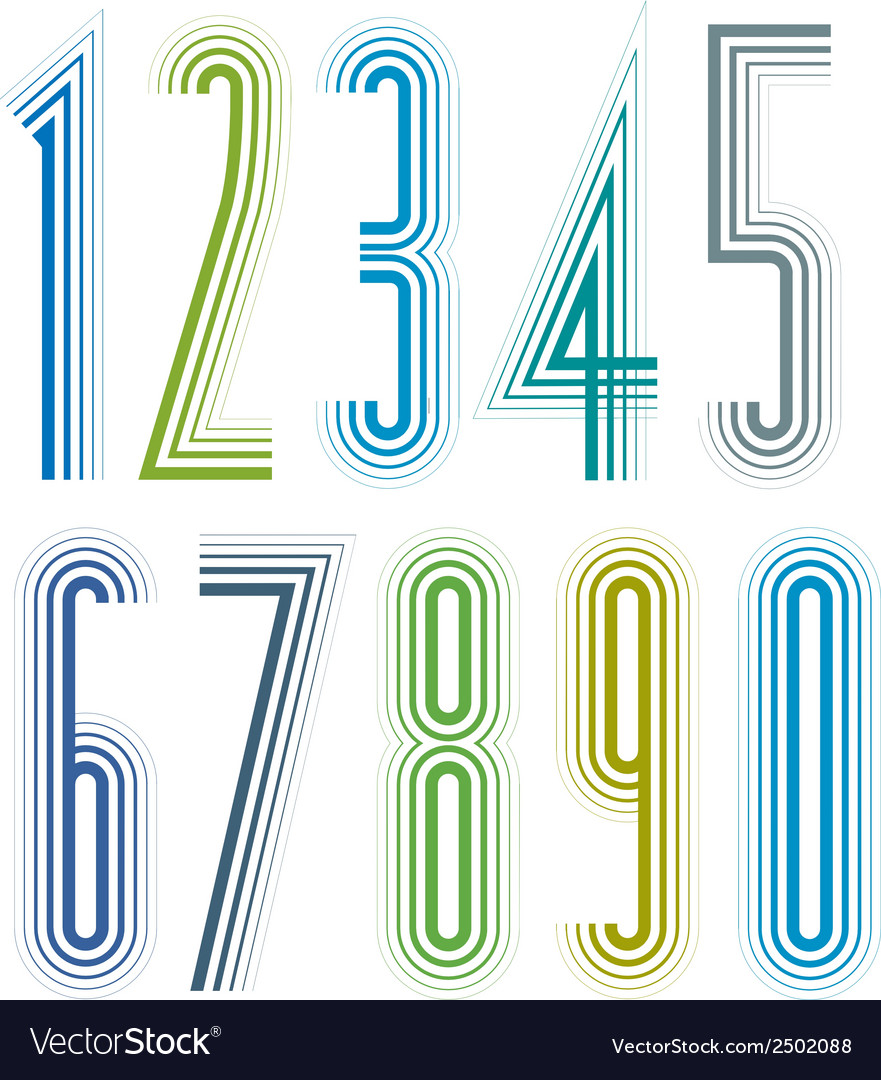 Geometric colorful tall decorative striped numbers vector | Price: 1 Credit (USD $1)