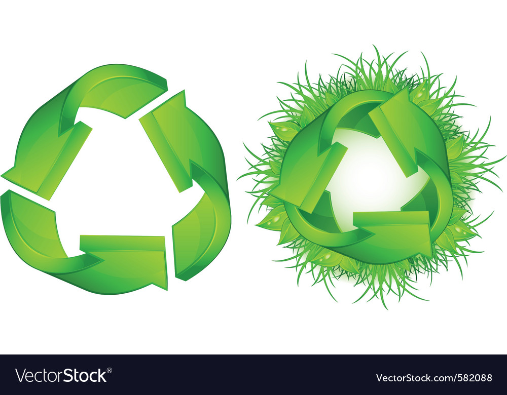 Green recycle symbol isolated on white background vector | Price: 1 Credit (USD $1)
