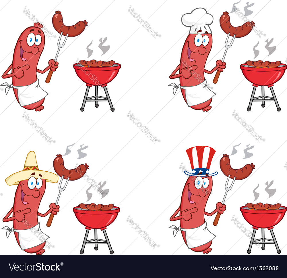 Happy sausage on picnic collection vector | Price: 1 Credit (USD $1)