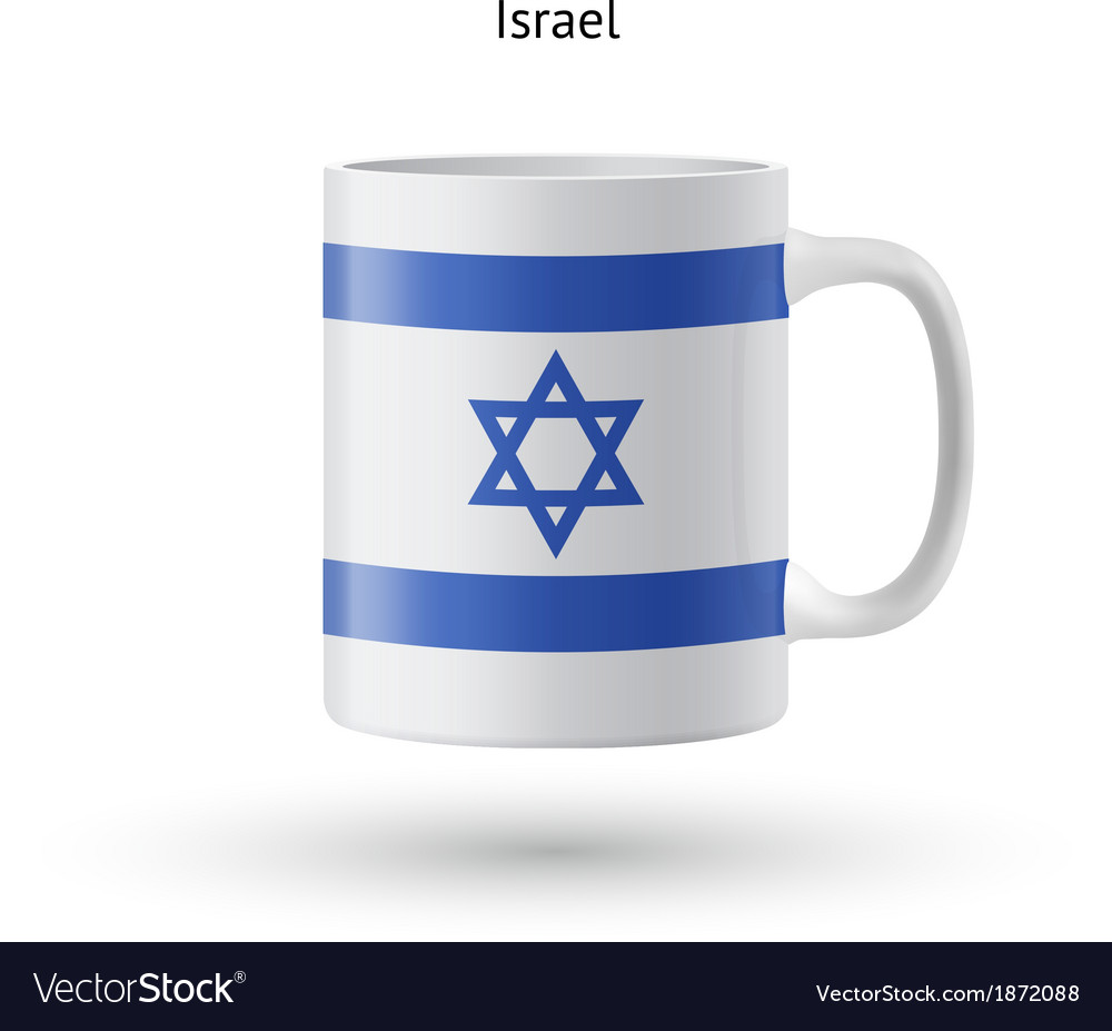Israel flag souvenir mug on white background vector | Price: 1 Credit (USD $1)