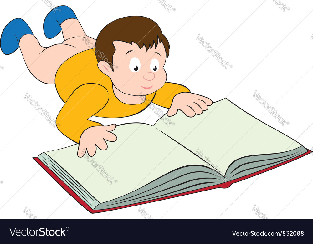 Kid with the book vector | Price: 1 Credit (USD $1)