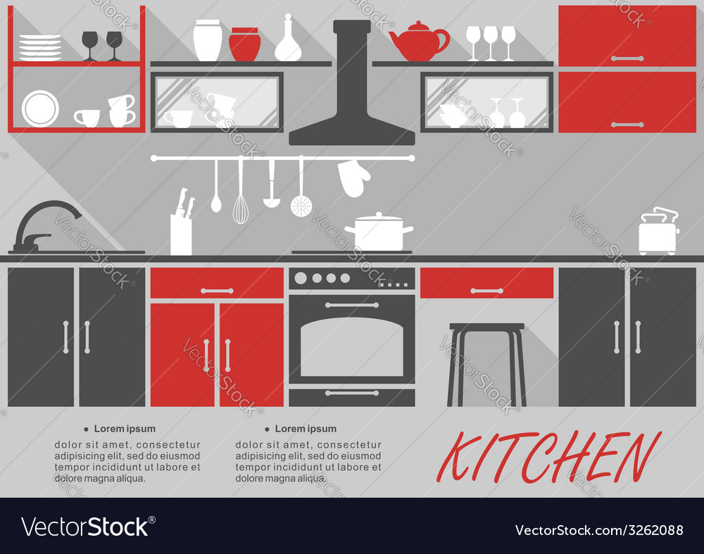 Kitchen interior decor infographic vector | Price: 1 Credit (USD $1)