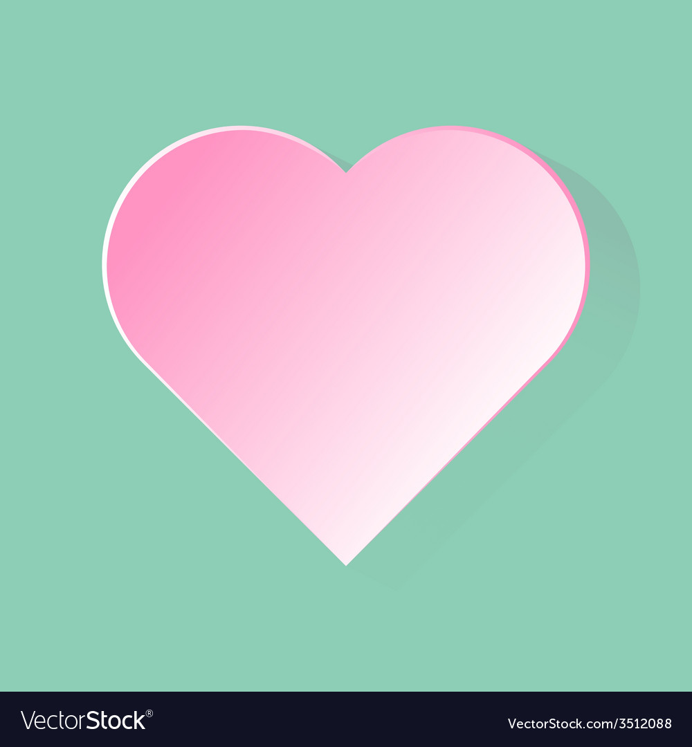Pink heart with long shadow in green background vector | Price: 1 Credit (USD $1)