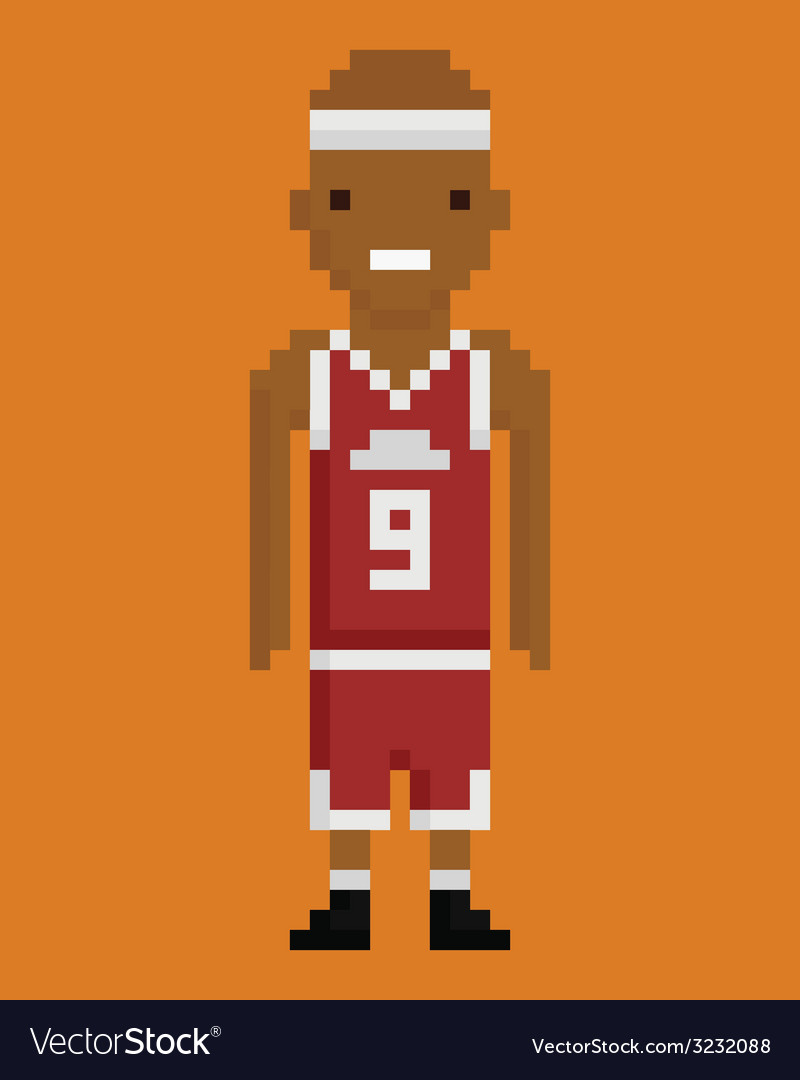Pixel art style young black man basketball player vector | Price: 1 Credit (USD $1)