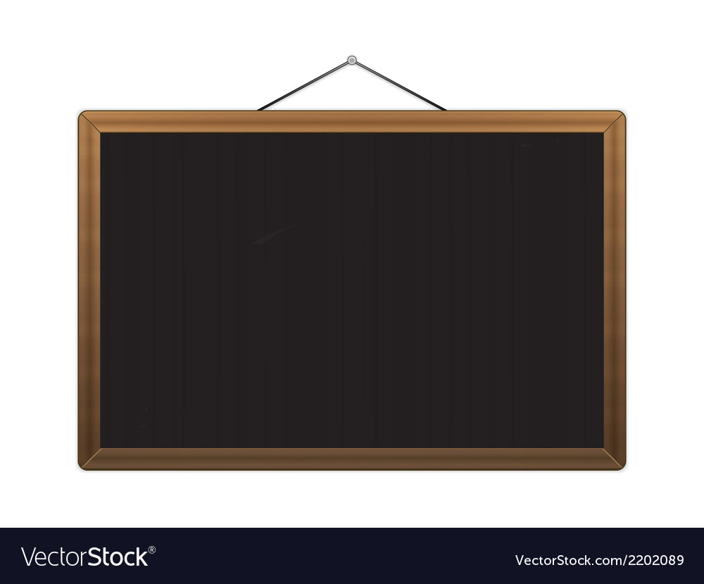 Black chalkboard with brown corners over white vector | Price: 1 Credit (USD $1)