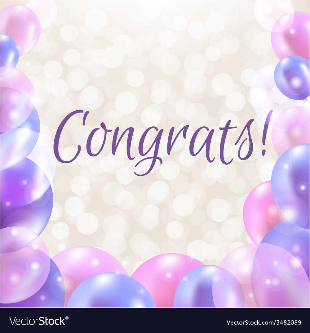 Congrats card with balloons vector | Price: 1 Credit (USD $1)
