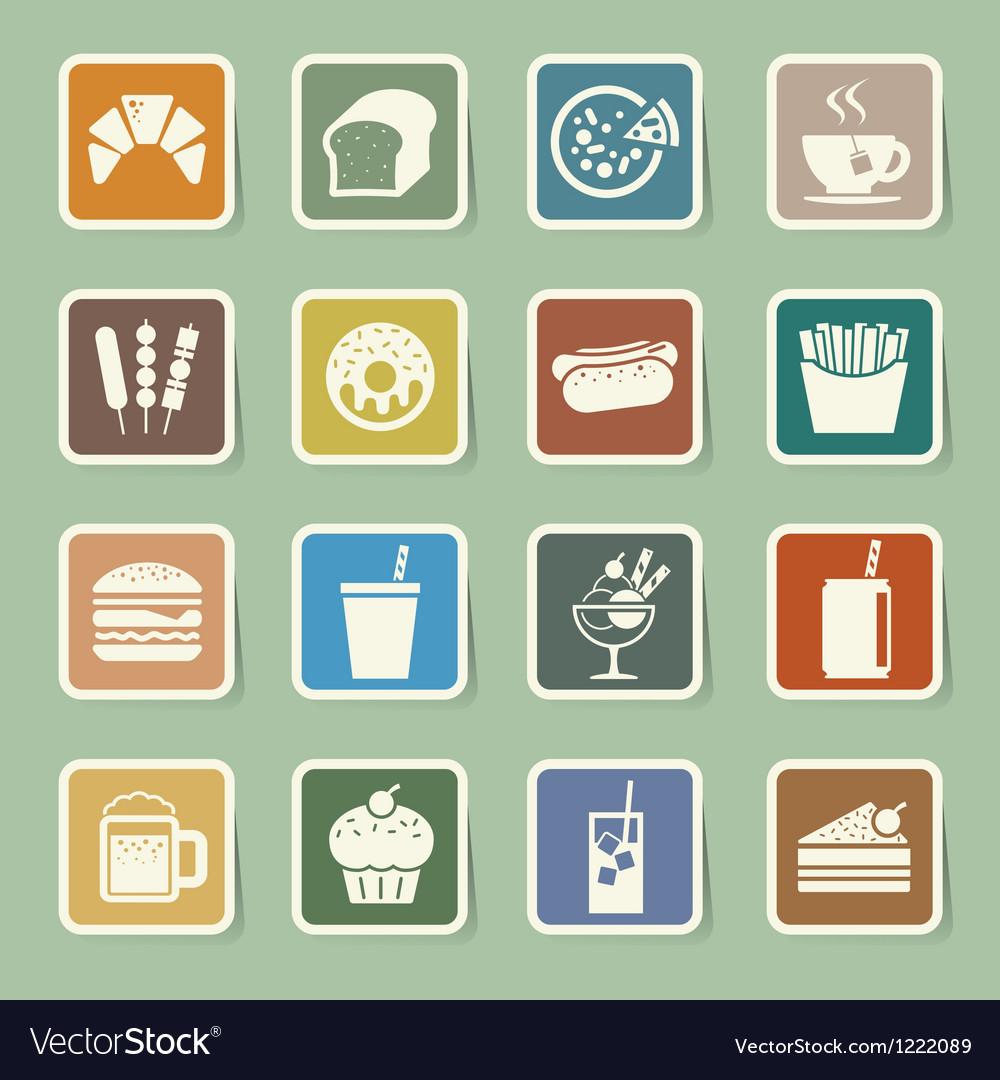 Fast food sticker icon set vector | Price: 1 Credit (USD $1)