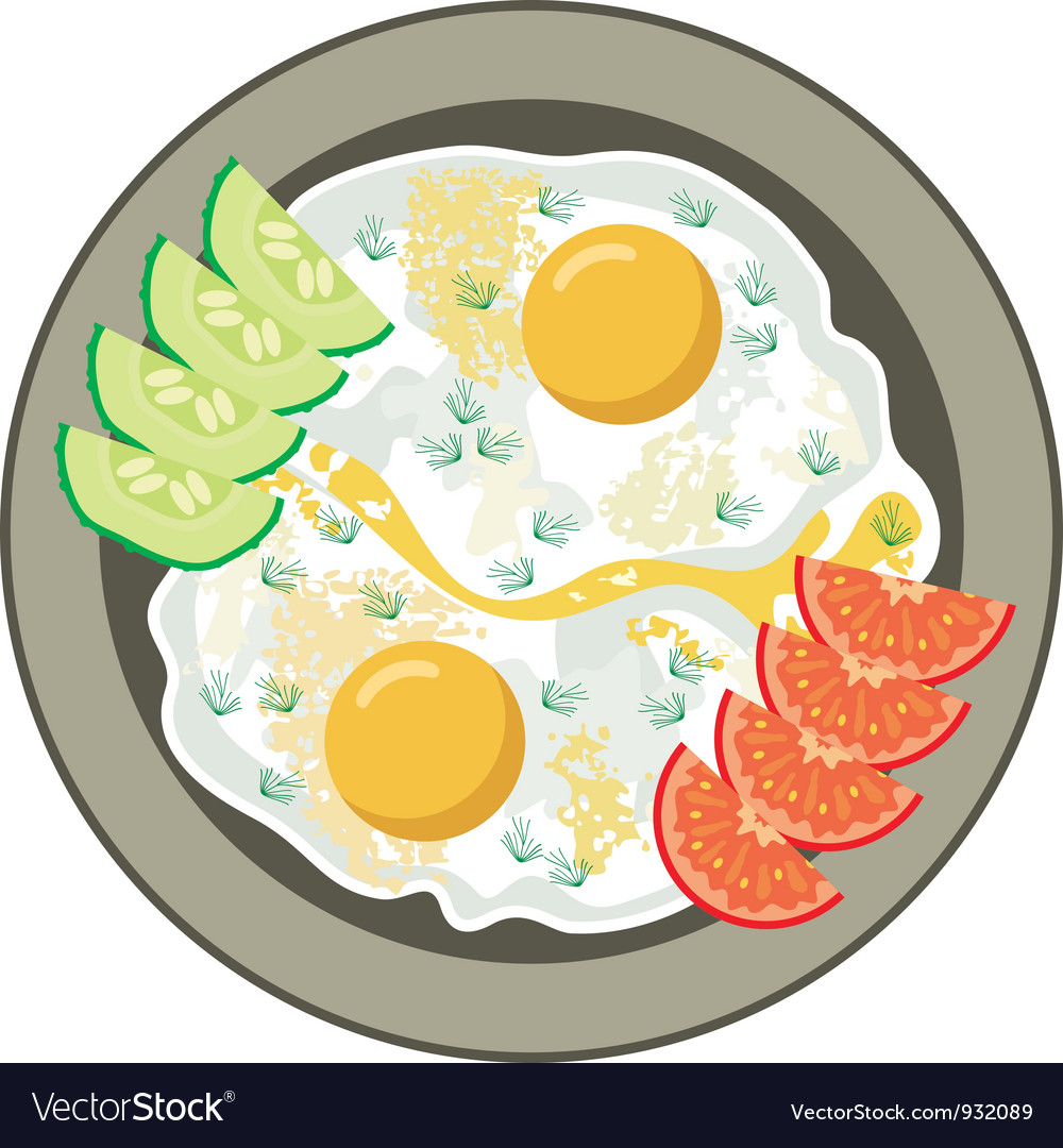 Fried eggs with vegetables vector | Price: 1 Credit (USD $1)