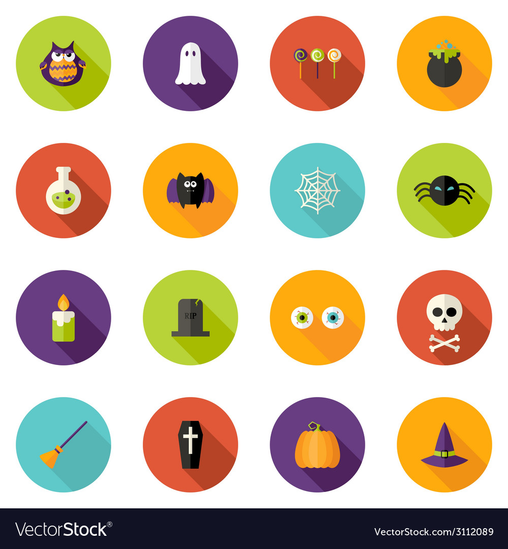 Halloween flat circle icons set vector | Price: 1 Credit (USD $1)