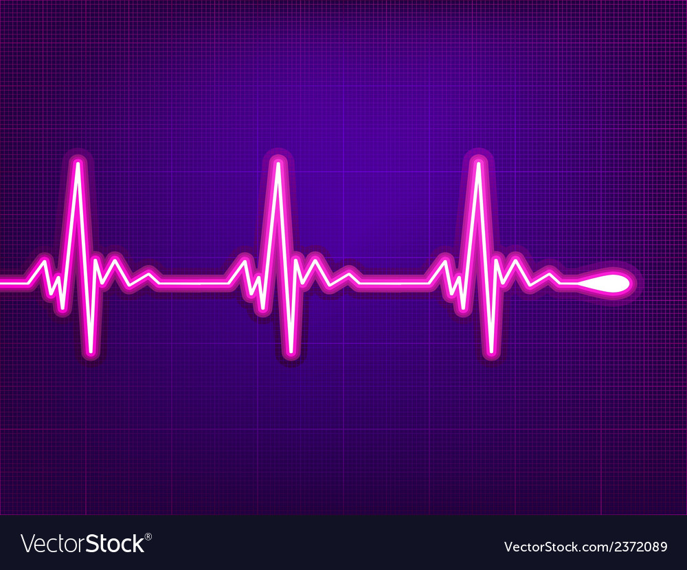 Heart cardiogram on deep fiolet eps 8 vector | Price: 1 Credit (USD $1)