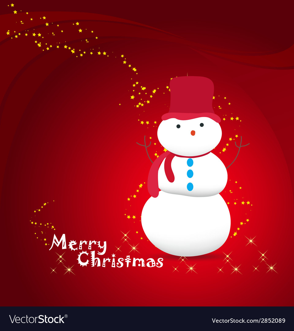 Merry christmas with snowman background vector | Price: 1 Credit (USD $1)