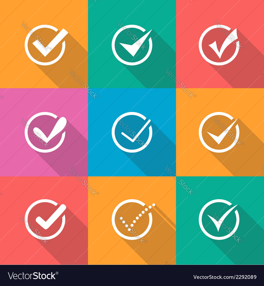 Modern confirm icons set vector | Price: 1 Credit (USD $1)