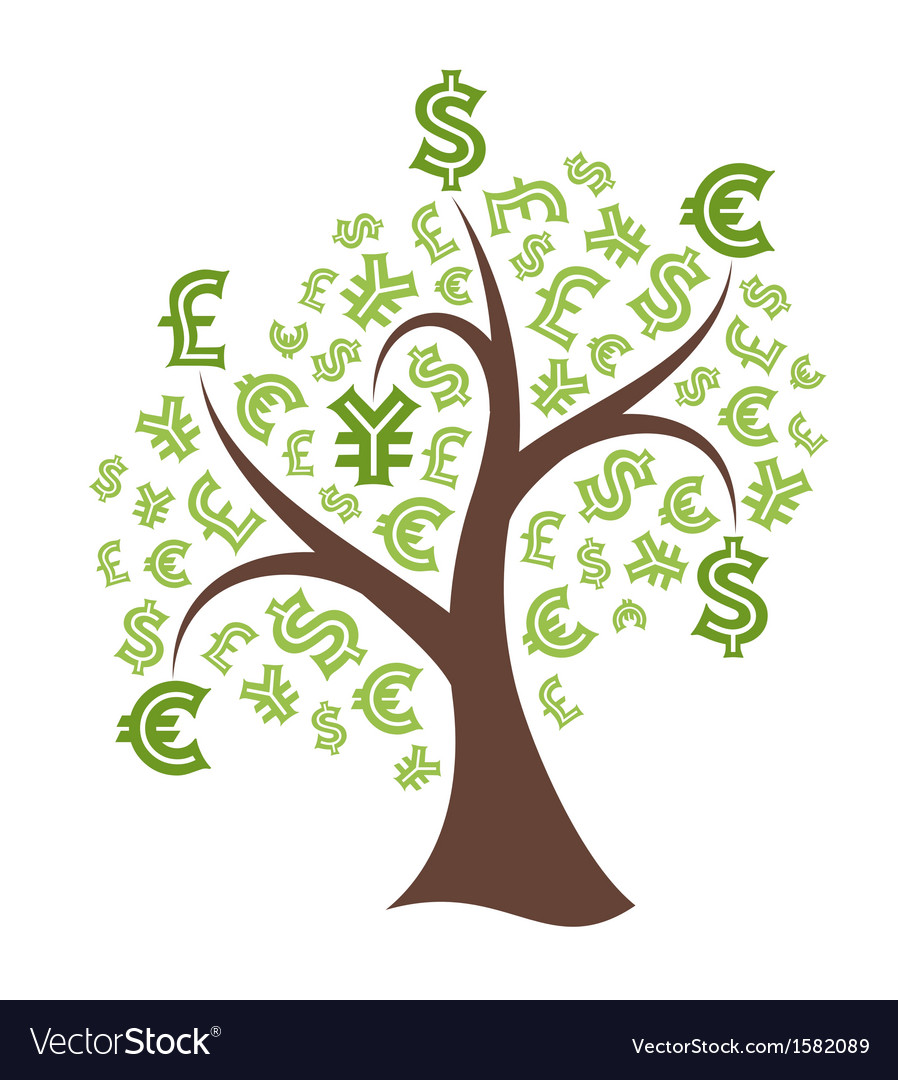 Money tree on white background vector | Price: 1 Credit (USD $1)