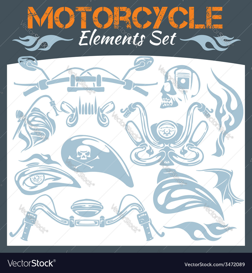 Motorcycle elements set vector | Price: 1 Credit (USD $1)