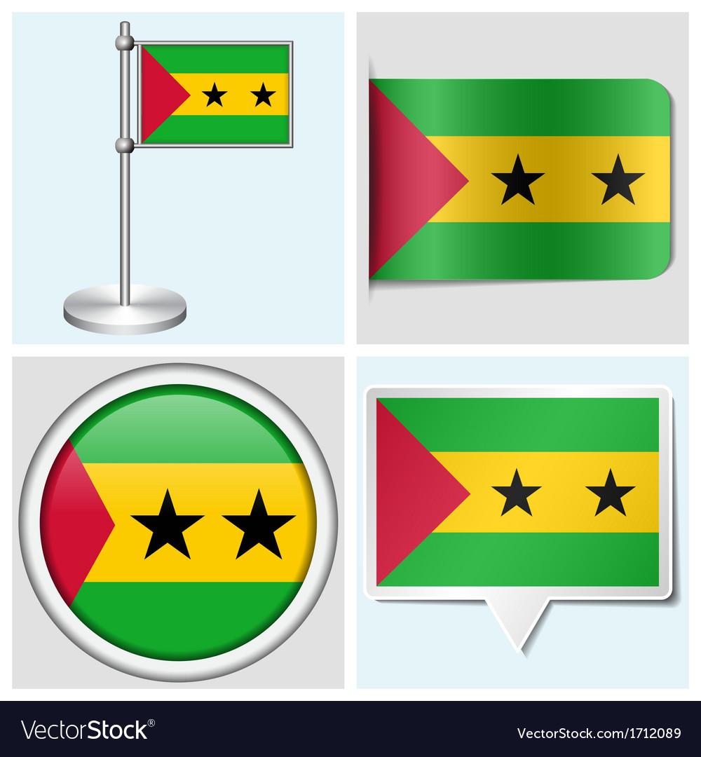 Sao tome and principe flag - sticker button vector   Price: 1 Credit (USD $1)