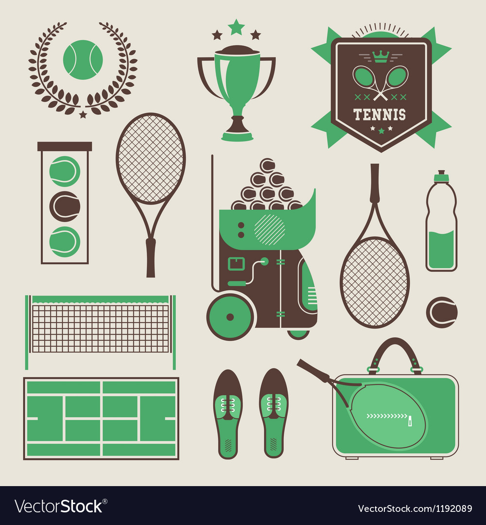 Tennis icons vector | Price: 1 Credit (USD $1)
