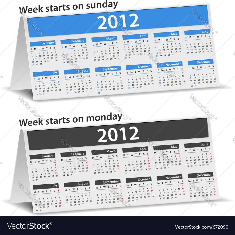2012 desk calendar vector | Price: 1 Credit (USD $1)