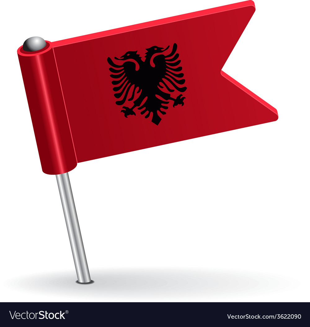 Albanian pin icon flag vector | Price: 1 Credit (USD $1)