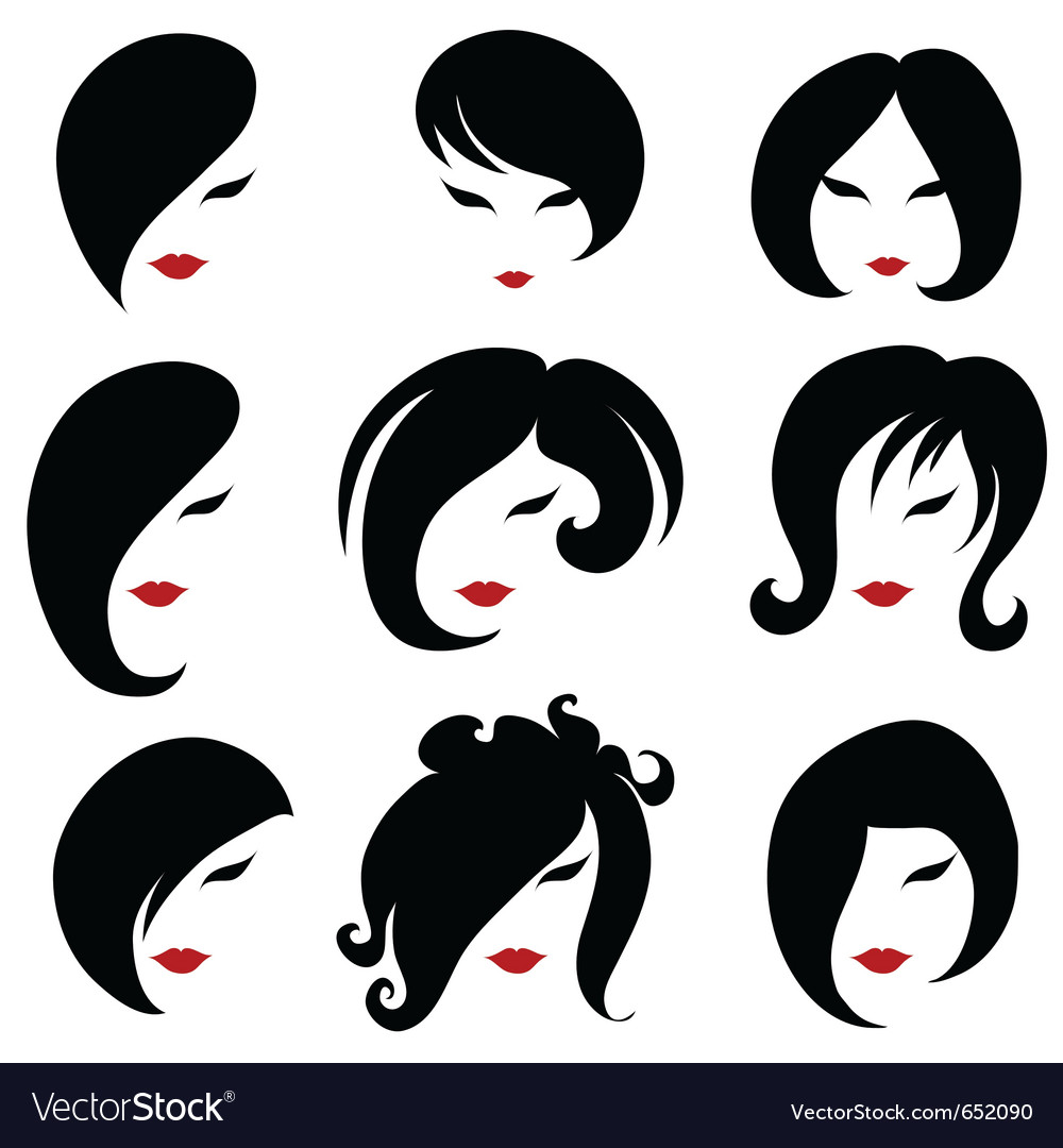 Black hair styling for woman vector | Price: 1 Credit (USD $1)