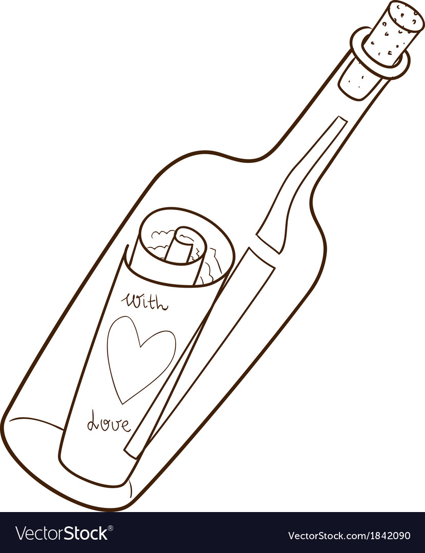 Bottle with romantic message vector | Price: 1 Credit (USD $1)