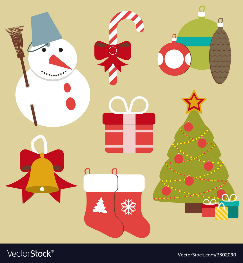Christmas retro icons elements and vector | Price: 1 Credit (USD $1)