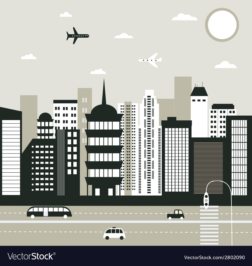 City in black and white vector | Price: 1 Credit (USD $1)