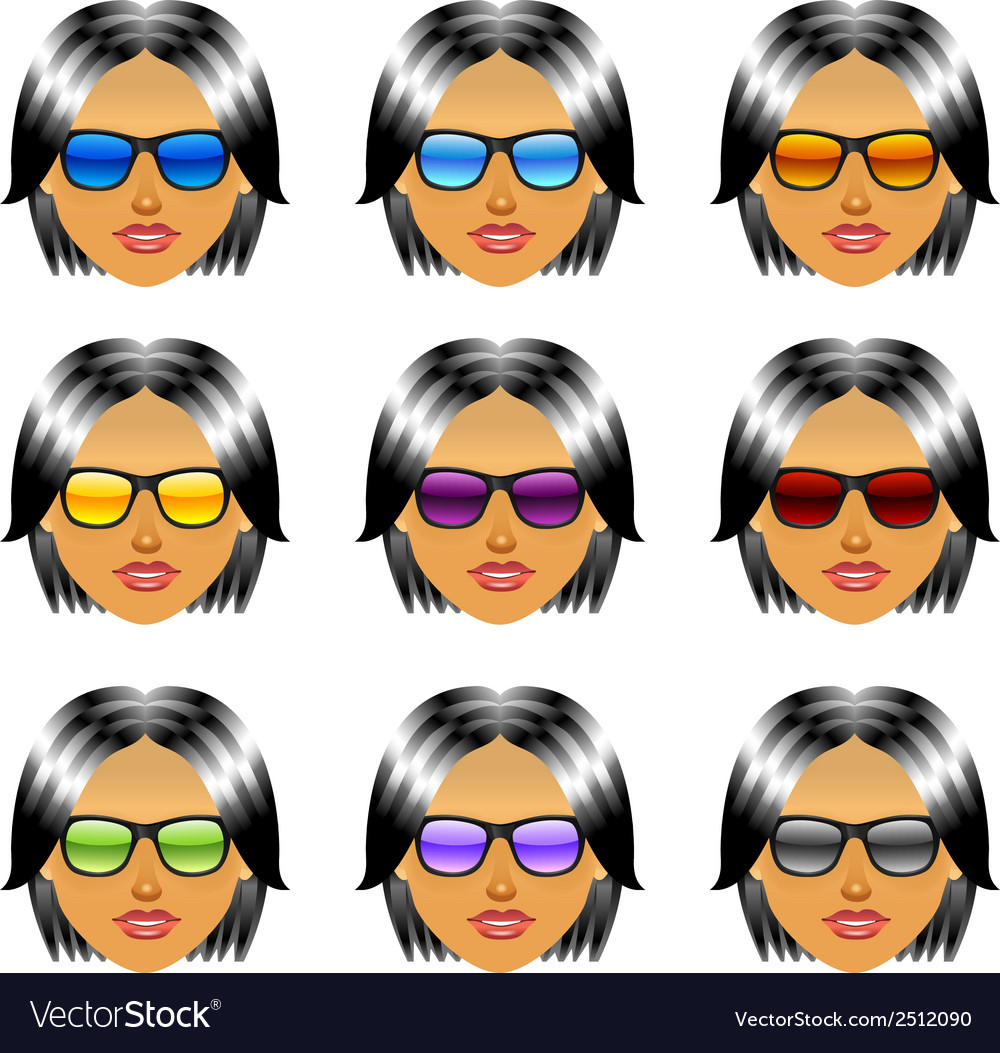 Female girl head with sunglasses vector | Price: 1 Credit (USD $1)