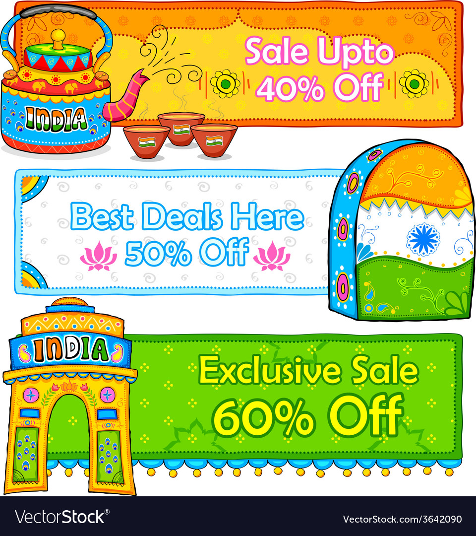 Indian kitsch art style sale and promotion banner vector | Price: 1 Credit (USD $1)
