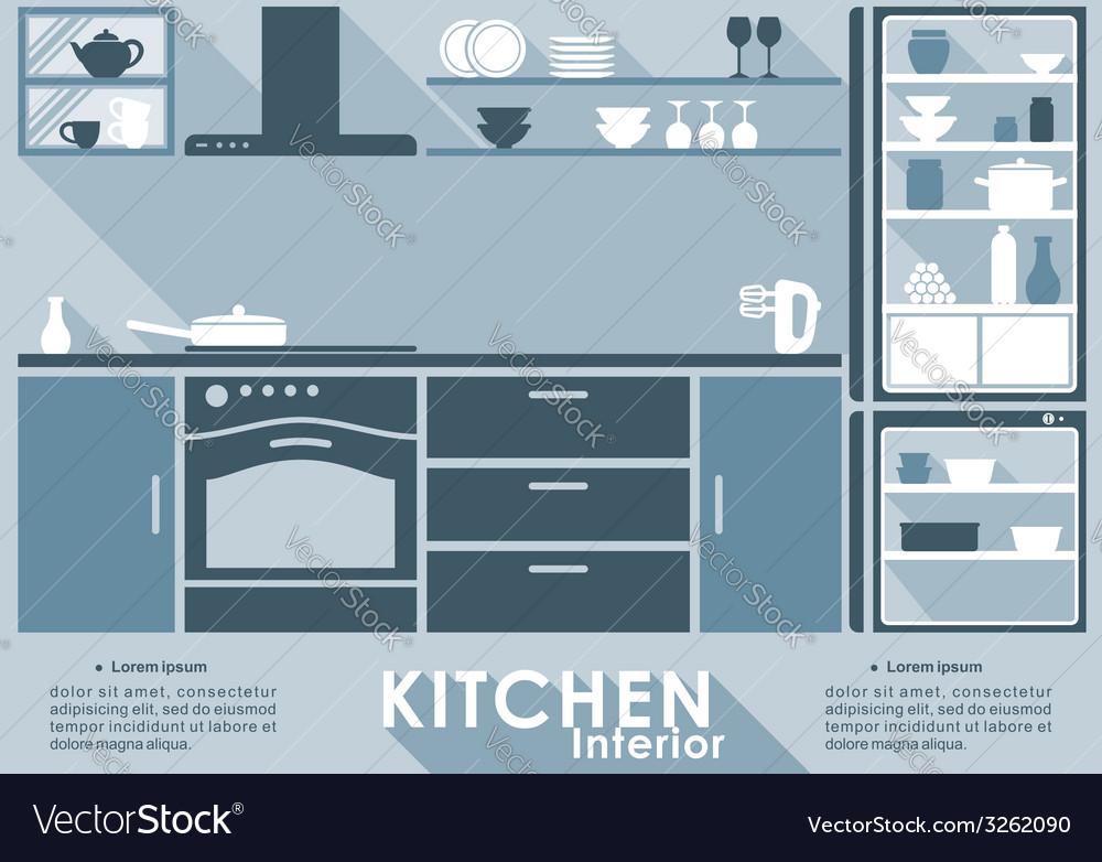 Kitchen interior in flat style vector | Price: 1 Credit (USD $1)