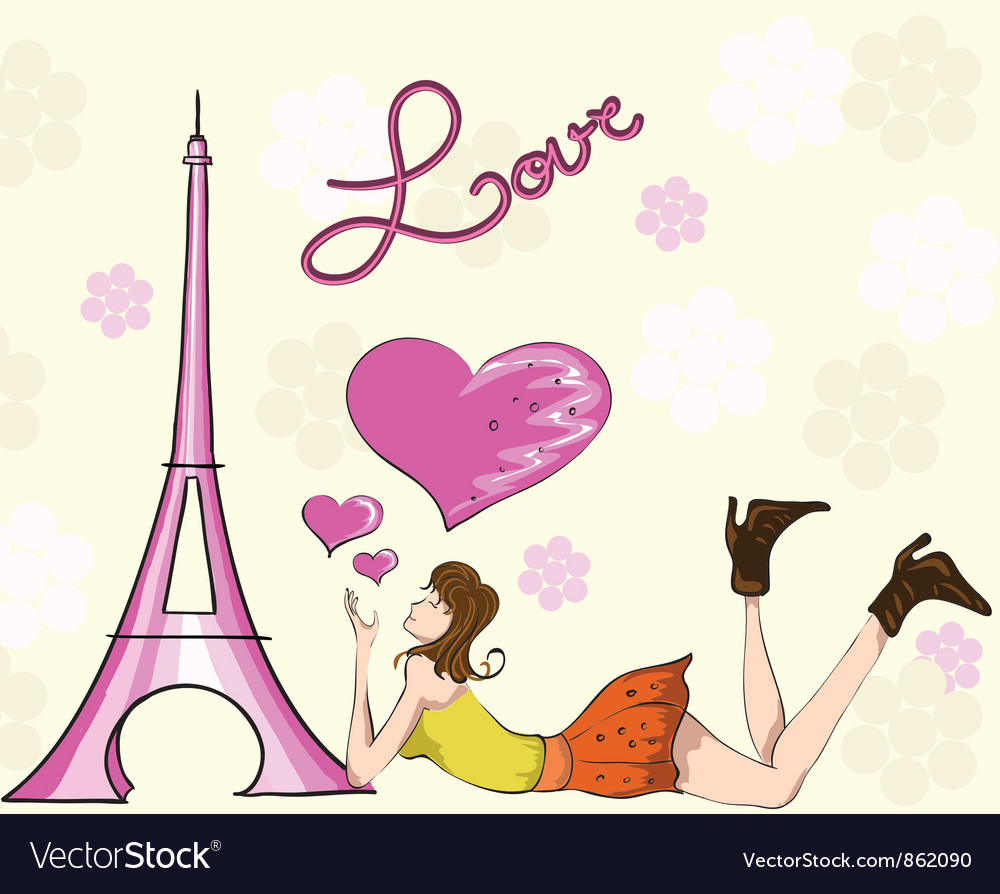 Paris doodles with lady vector | Price: 3 Credit (USD $3)