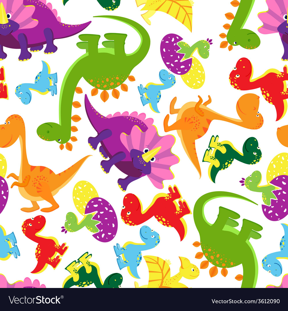 Seamless background pattern of baby dinosaurs vector | Price: 1 Credit (USD $1)