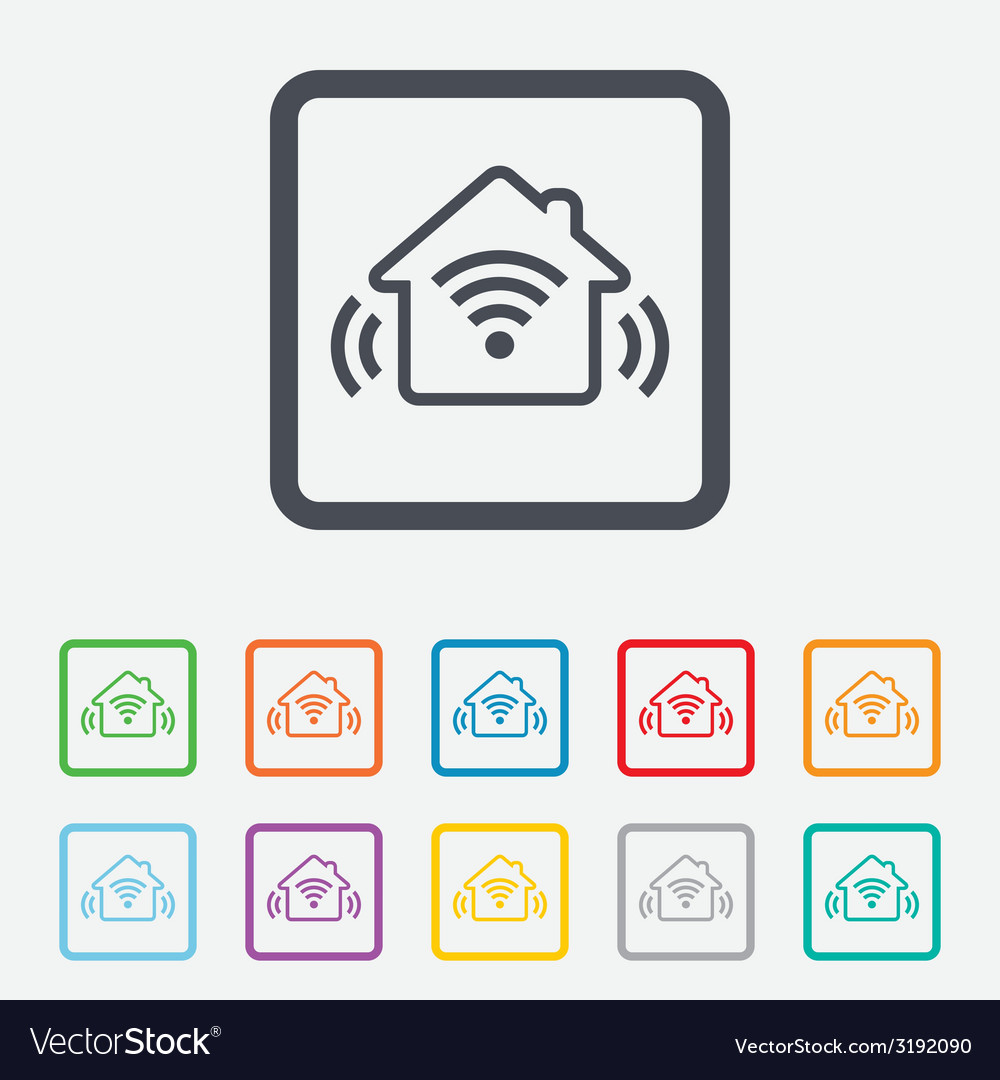 Smart home sign icon smart house button vector | Price: 1 Credit (USD $1)